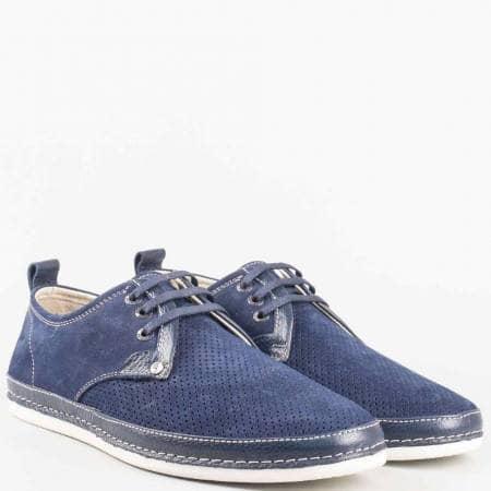 Перфорирани мъжки обувки с връзки в син цвят от естествена кожа и набук изцяло m221ds