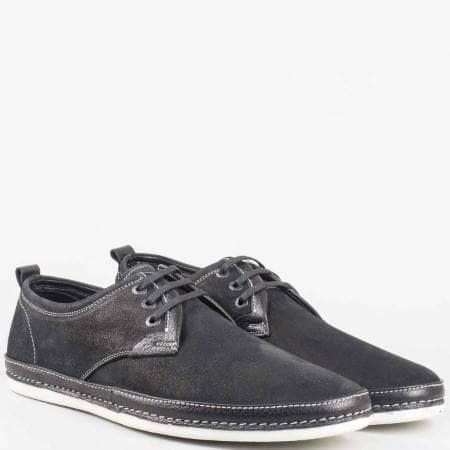 Мъжки ежедневни обувки с връзки от естествена кожа и набук в черен цвят m221nch