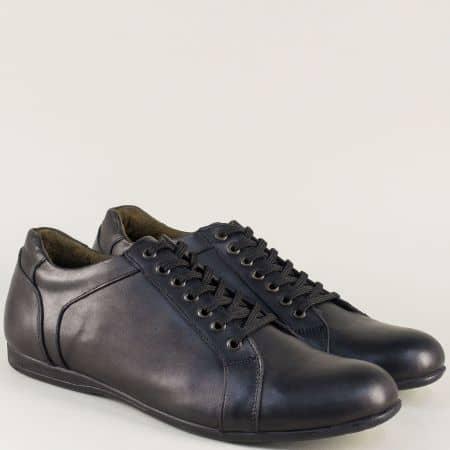 Кожени мъжки обувки на равно ходило с връзки в черен цвят m22gch