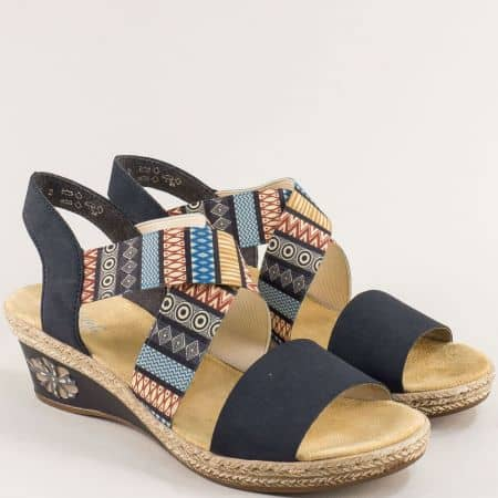 Сини дамски сандали с ластик на платформа- RIEKER m2418sps