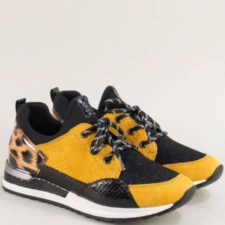 Дамски маратонки в жълто и черно- REMONTE m2503j