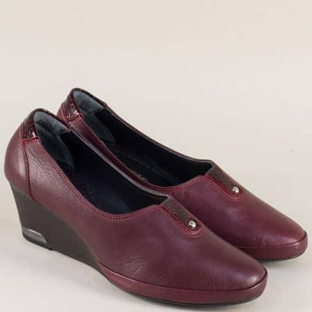 Дамски обувки в цвят бордо със стелка от естествена кожа m252bd