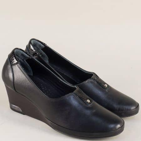Черни дамски обувки от естествена кожа на клин ходило  m252ch