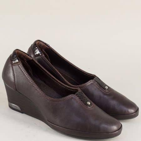Тъмно кафяви дамски обувки от естествена кожа с ластик m252kk