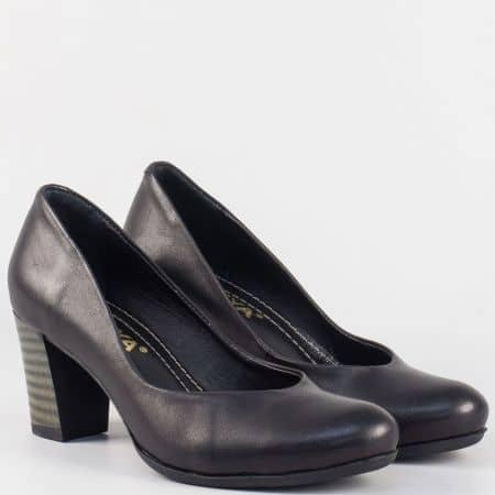Дамски семли обувки на висок ток от естествена кожа в черен цвят m257ch
