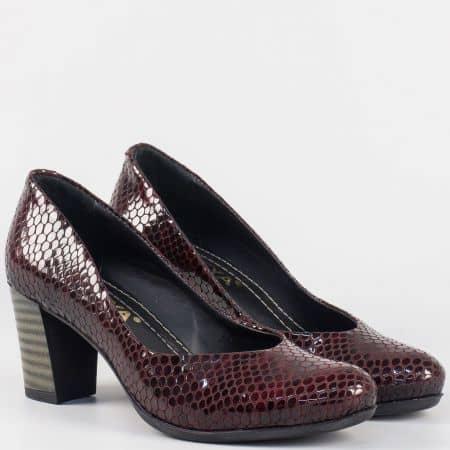 Лачени дамски обувки в бордо на висок ток m257kbd
