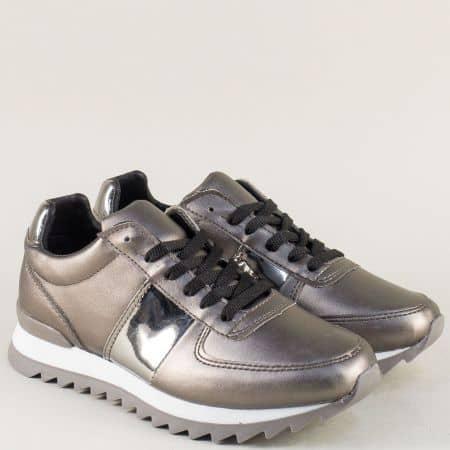 Дамски маратонки с връзки в сив цвят с метален блясък m259sv