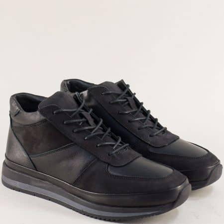Спортни мъжки боти в черно от естествен набук и кожа m260ch