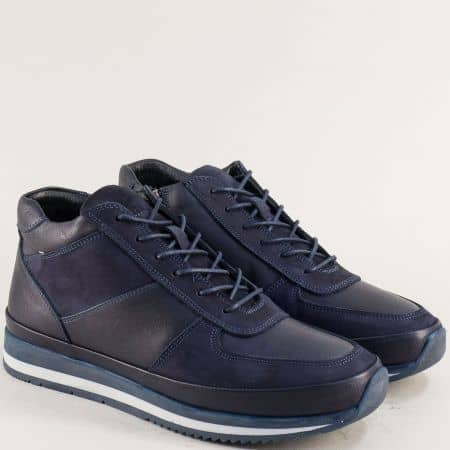 Спортни мъжки боти от естествена набук и кожа в синьо m260s