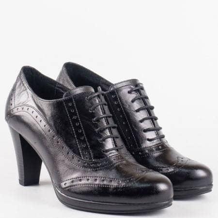 Дамски ежедневни обувки с модерна визия от естествена кожа на български производител в черен цвят m261ch