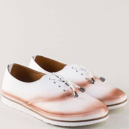 Спортни дамски обувки от бяла естествена кожа m265b
