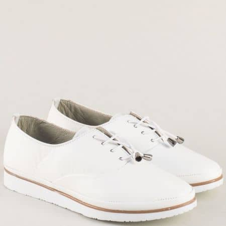 Бели дамски обувки с ластични връзки и кожена стелка m265bb
