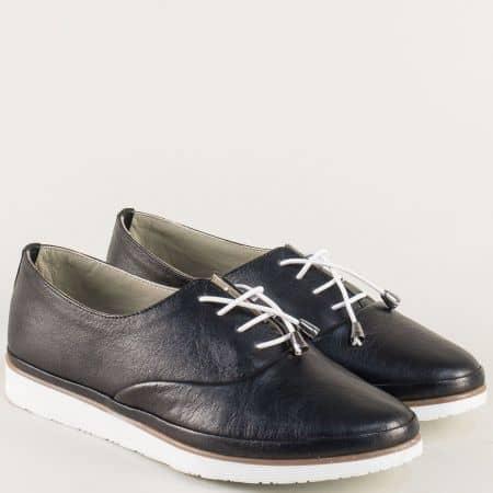 Черни дамски обувки с ластични връзки на бяло ходило m265ch
