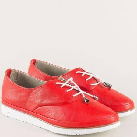 Кожени дамски обувки с ластични връзки в червен цвят m265chv