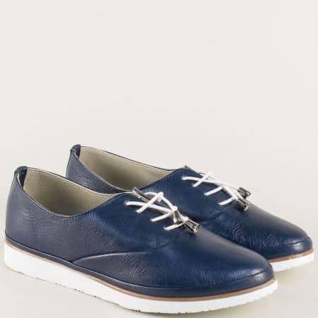 Равни дамски обувки с ластични връзки в тъмно син цвят m265s