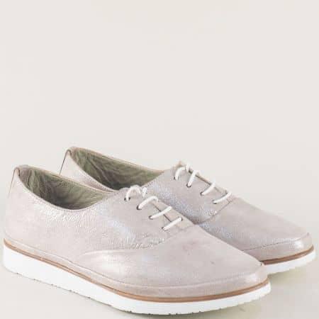 Кожени дамски обувки с ластични връзки в сребристо m265sr