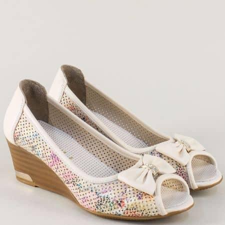 Пъстри дамски обувки от естествена кожа на клин ходило m267bjps