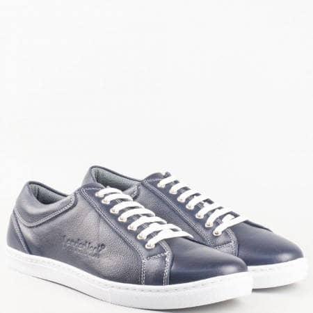 Мъжки качествени обувки за всеки ден, тип кец, изработени от естествена кожа в син цвят m280s
