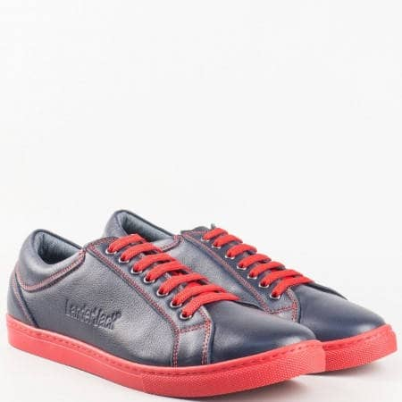 Мъжки ежедневни обувки, тип кец, изработени от вискококачествена естествена кожа в син цвят m280schv