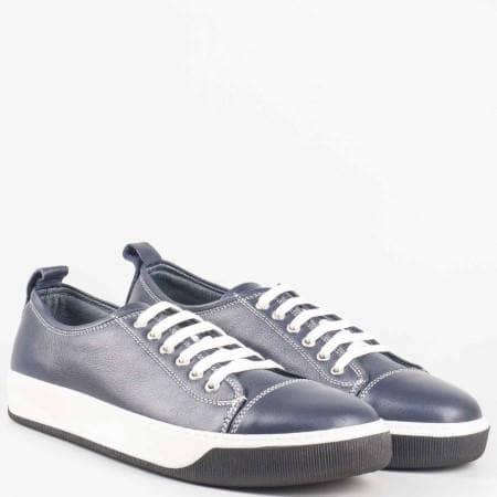 Шити мъжки спортни обувки с връзки от естествена кожа в син цвят m281s