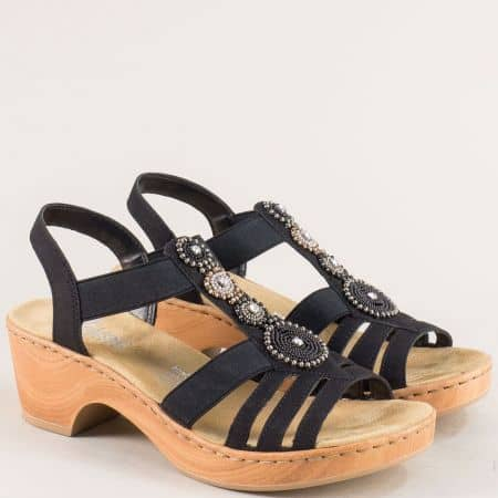 Черни дамски сандали на платформа на марка Rieker m288ch