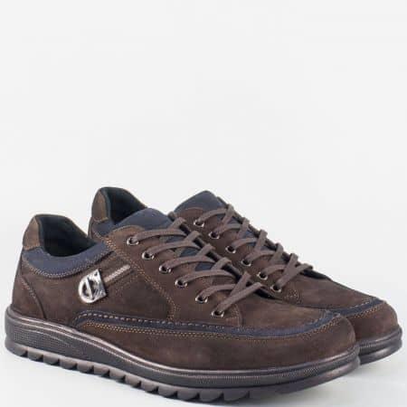 Мъжки тъмно кафяви обувки с връзки от естествен набук m2914nkk