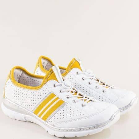 Перфорирани дамски маратонки в бяло и жълто- RIEKER m320b