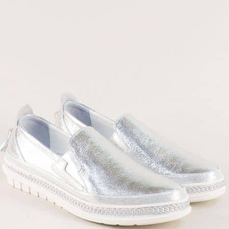 Сребърни дамски обувки с пискюл от естествена кожа m304sr