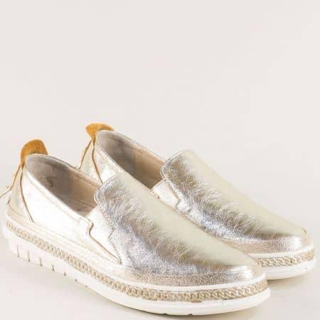 Златисти дамски обувки от естествена кожа m304zl