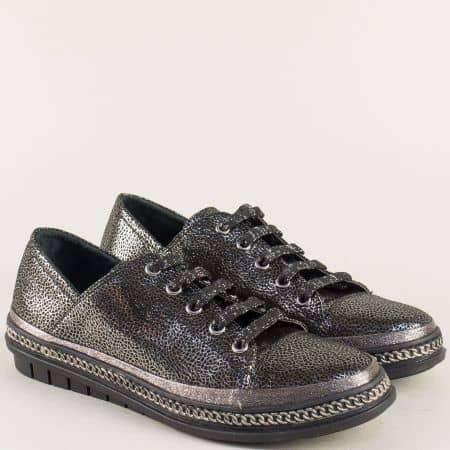 Кожени дамски обувки с връзки в черно и сребро m305chsr