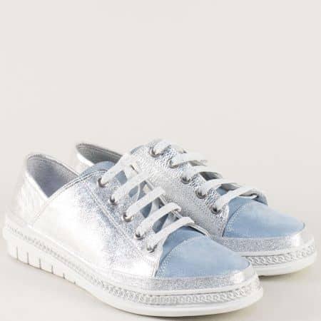 Сребърни дамски обувки с връзки от естествена кожа m305sr