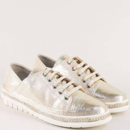 Златисти дамски обувки от естествена кожа m305zl
