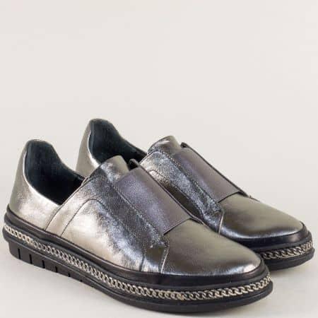 Бронзови дамски обувки с кожена стелка и ластик m306brz