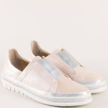 Дамски обувки от естествена кожа в сребро и розово m306rzsr