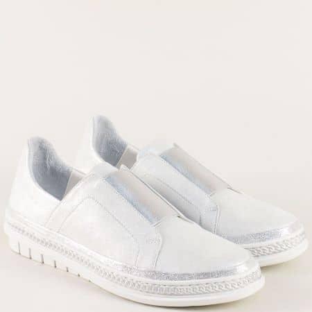 Кожени дамски обувки на равно ходило в сребро m306sr
