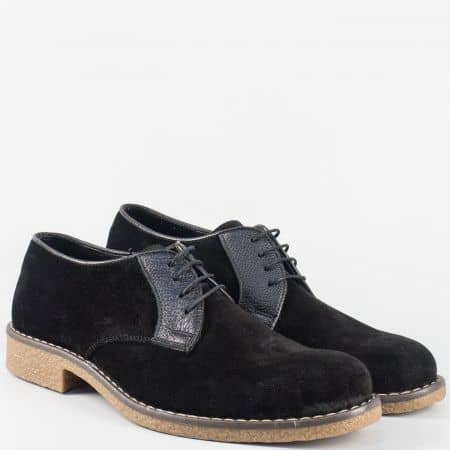 Велурени мъжки обувки в черен цвят на шито, каучуково ходило n30vch