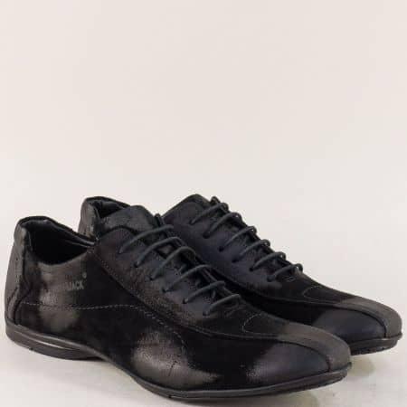 Велурени мъжки обувки с връзки и кожена стелка в черно m310vch