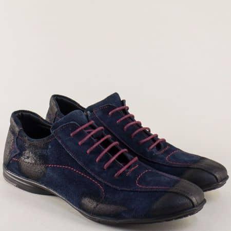 Мъжки обувки с връзки от син естествен велур m310vs