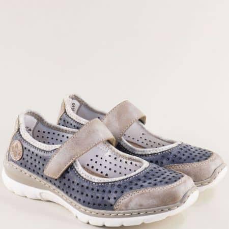 Дамски обувки с Memory пяна в сиво и синьо- RIEKER m325s