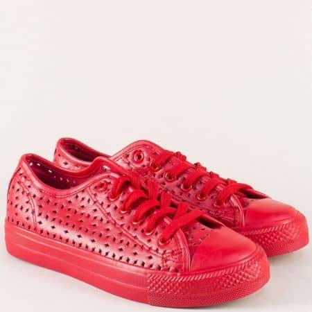 Спортни дамски обувки на равно ходило в червен цвят m338chv