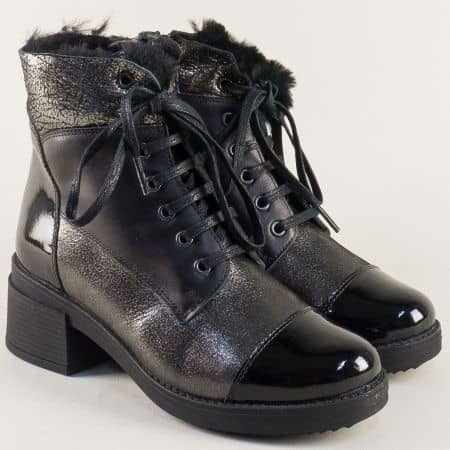 Дамски боти от естествена кожа и лак на среден ток в черен и бронзов цвят m3405chbrz