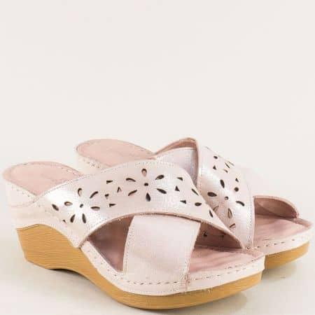 Розови дамски чехли на платформа с кожена стелка m340srz