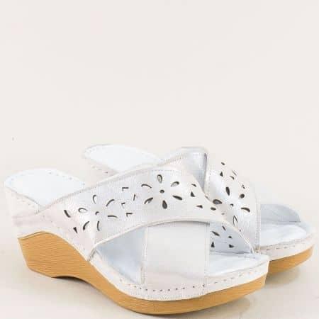 Дамски чехли от сатен и естествена кожа в сив цвят m340ssv
