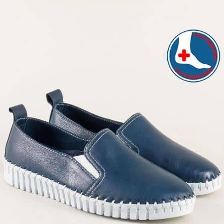 Дамски обувки с два ластика от естествена кожа в син цвят m372s