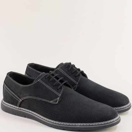 Черни мъжки обувки от естествен набук с перфорация ma377nch