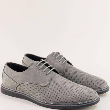 Сиви мъжки обувки от естествен набук с перфорация ma377nsv