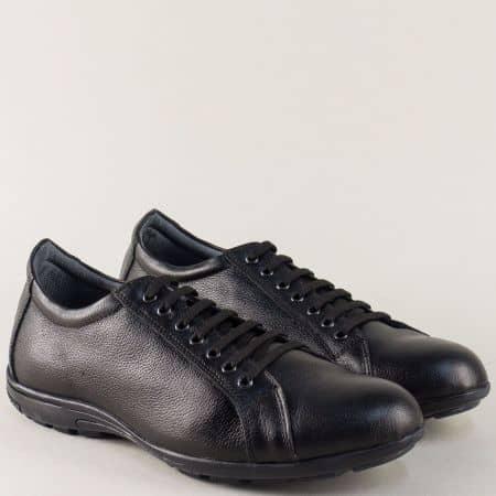 Мъжки обувки с връзки от естествена кожа в черен цвят m400ch