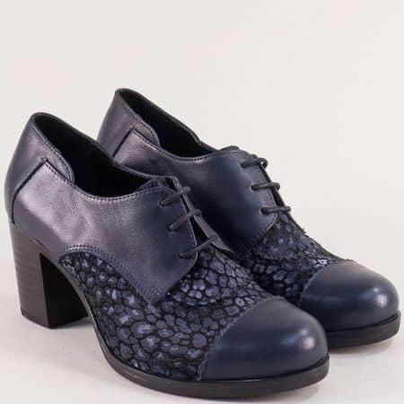 Сини дамски обувки от естествен велур и кожа на ток m4018s