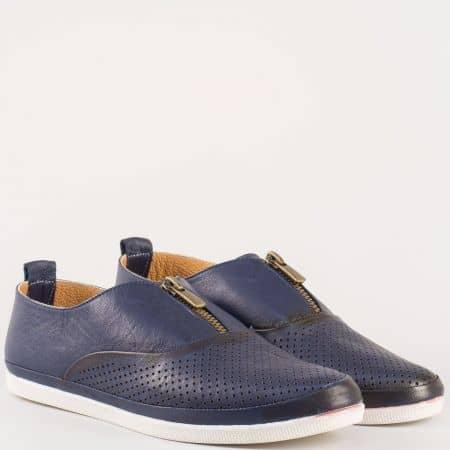 Перфорирани дамски обувки с цип на равно ходило от естествена кожа в син цвят m402s