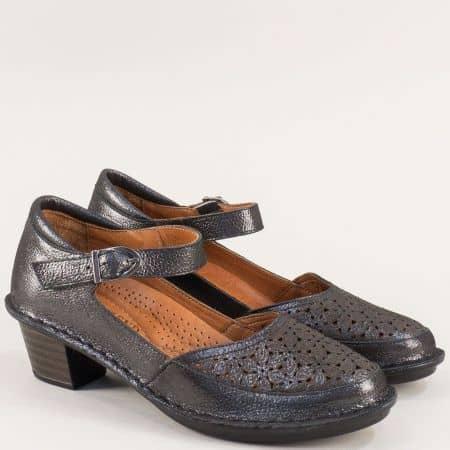 Черни дамски обувки на среден ток с кожена стелка m4065sch